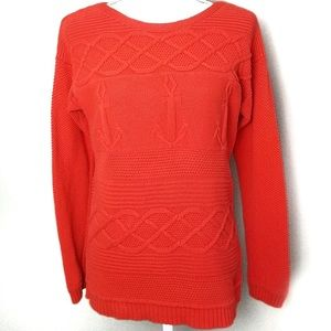 Talbots | Cozy Cable Knit Anchor Sweater | Large